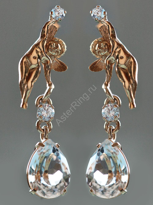 Ангелочки золото 750 хрусталь