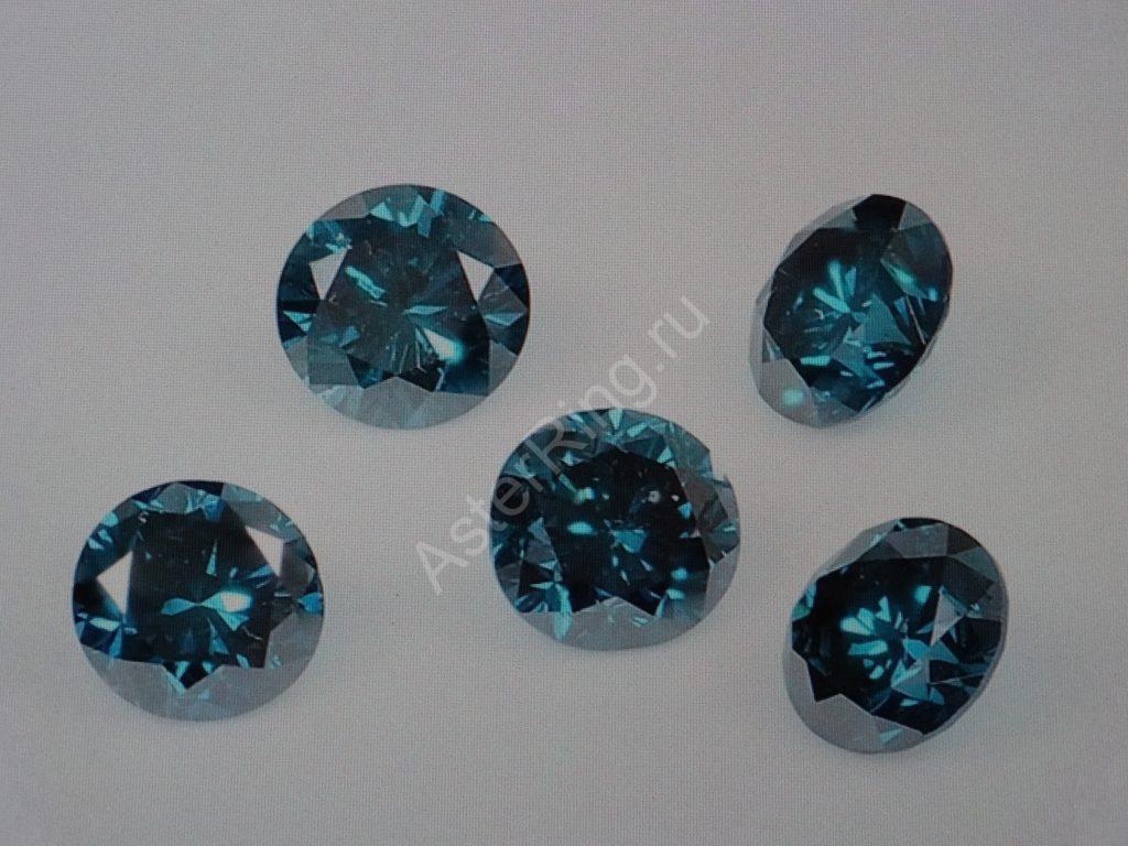 Бриллианты голубые 2.5 мм 0.06 ct